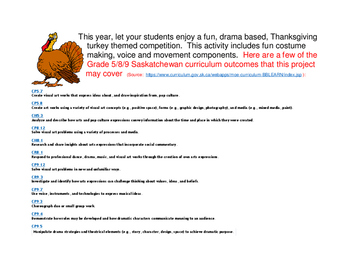 Thanksgiving Turkey Contest:  a super fun drama based activity for grades 5 - 12