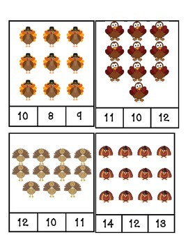 Thanksgiving Turkey Count and Clip Cards #1-24