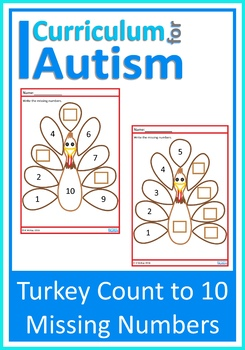 Thanksgiving Turkey Count to 10 Missing Numbers, Autism Special Education