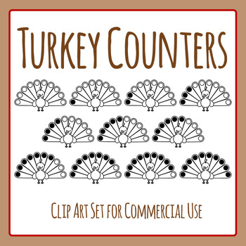 Thanksgiving Turkey Counter Clip Art Set for Commercial Use