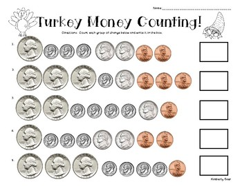 image about Counting Money Printable Worksheets titled Thanksgiving Turkey Counting Economic Train Worksheet