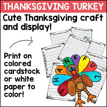 Thanksgiving Turkey Craft - Thanksgiving Writing Prompts
