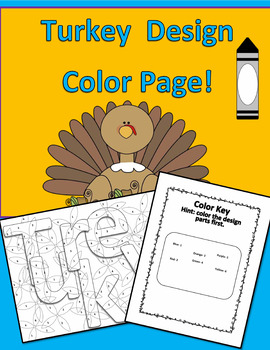 Thanksgiving Turkey Design Color Page with Color Key