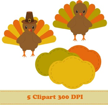 Thanksgiving Turkey Digital Paper + Clipart