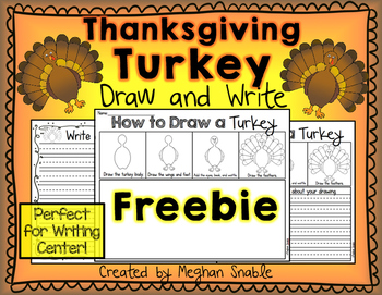 Thanksgiving Turkey Draw and Write Freebie by Meghan Snable