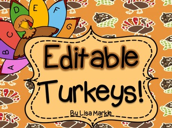 Thanksgiving Turkey EDITABLE Kit for Sight Words or Name Spelling