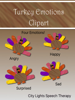 Thanksgiving Turkey Emotions Clipart