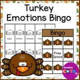 Thanksgiving Activities Turkey Emotions and Feelings Bingo
