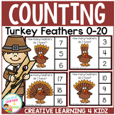 Counting Picture Clip Cards 0-20: Thanksgiving Turkey Feather