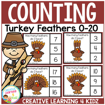 Thanksgiving Turkey Feather Counting Clip Cards 0-20