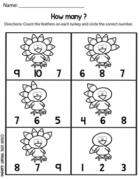 Thanksgiving Turkey Feathers Count and Clip cards (Numbers 0-10 plus worksheets)