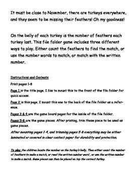 Thanksgiving Turkey File Folder Game Numbers 0-10