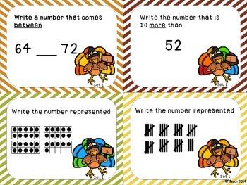Thanksgiving Turkey First Grade NBT.1 Review Task Cards