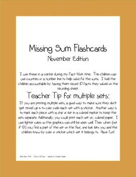 Flashcards- Missing Sums- Turkey Time Edition