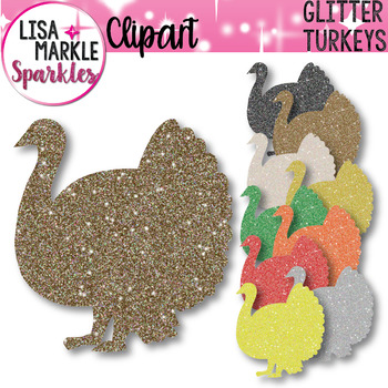 Thanksgiving Turkey Glitter Silhouettes Clipart