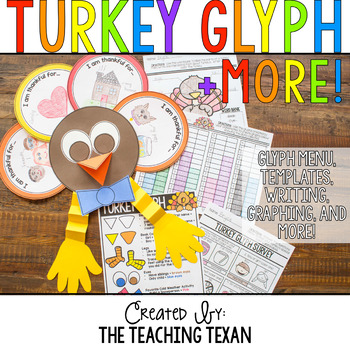 Thanksgiving Turkey Glyph Plus Math and Writing Printables