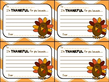 Thanksgiving Turkey Gram Thankful Note for Classmates, Team, Coworkers