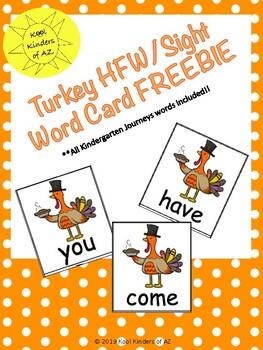 Thanksgiving Turkey HFW/Sight Word Card *FREEBIE*