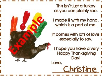 Thanksgiving Turkey Handprint Poem and Keepsake