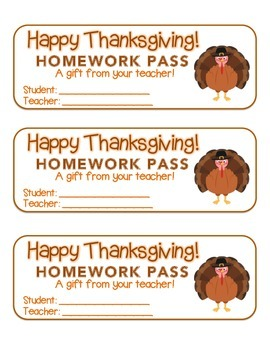 """Thanksgiving"" Turkey - Homework Pass – Holiday FUN! (full color version)"