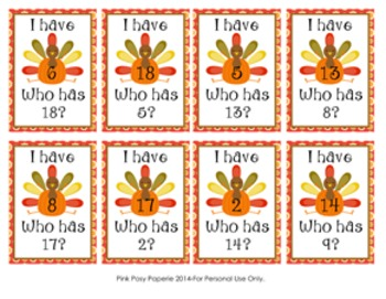 Thanksgiving Turkey I Have, Who Has? Number Recognition Game 1-20