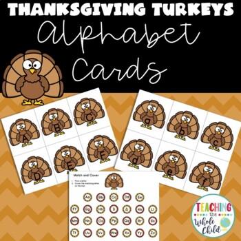 Thanksgiving Activities: Turkey Alphabet Letter Cards / Match game