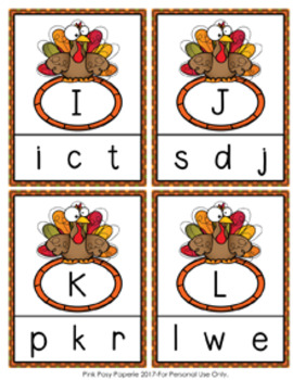 Thanksgiving Turkey Letter Match Clip Cards