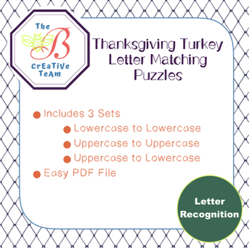 Thanksgiving Turkey Letter Matching Puzzles