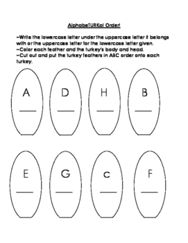 Thanksgiving Turkey Letter Recognition and Vocabulary Practice