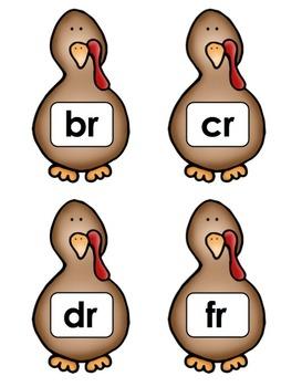 "Thanksgiving Turkey - Literacy Center (""R"" Blends)"