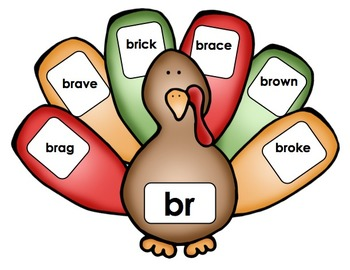 "Thanksgiving Turkey - Literacy Center (""R"" Blends)"