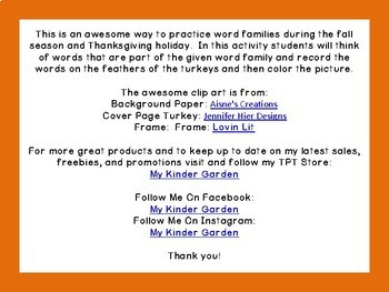 Thanksgiving Turkey Long E and Short E Word Family Work