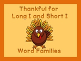 Thanksgiving Turkey Long I and Short I Word Family Work