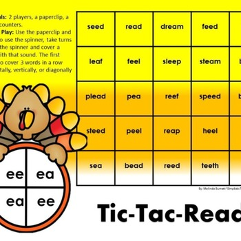 Thanksgiving Turkey Long Vowel Team EE EA Word Fluency Game