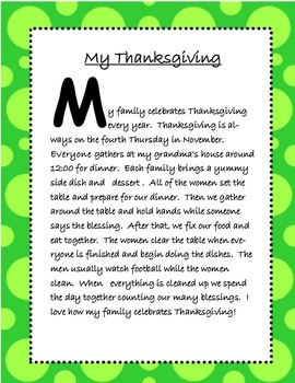 Thanksgiving Turkey Main Idea and Details