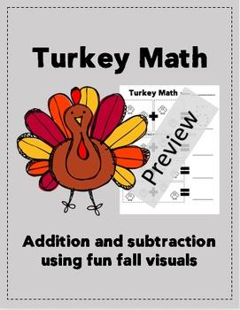 K, 1st, 2nd Grade Thanksgiving Turkey Math!