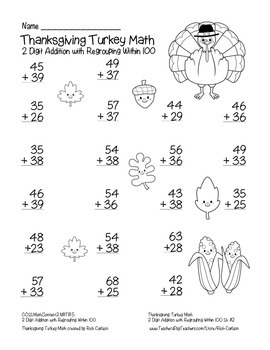 """Thanksgiving Turkey Math"" 2 Digit Addition With Regrouping  -FUN! (black line)"