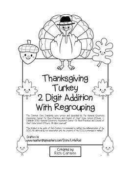"""Thanksgiving Turkey Math"" 2 Digit Addition With Regroupin"