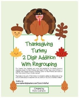 """""""Thanksgiving Turkey Math"""" 2 Digit Addition With Regrouping! (color & blackline)"""