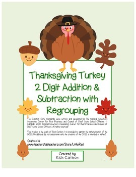 """""""Thanksgiving Turkey Math"""" 2 Digit Subtract & Add Regrouping color & black line)"""
