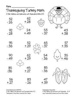 """""""Thanksgiving Turkey Math"""" 2 Digit Subtract & Add With Regrouping (black line)"""
