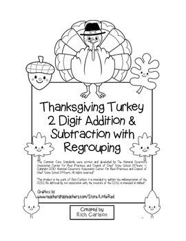 """Thanksgiving Turkey Math"" 2 Digit Subtract & Add With Reg"