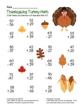 """""""Thanksgiving Turkey Math"""" 2 Digit Subtract & Add With Regrouping (color)"""