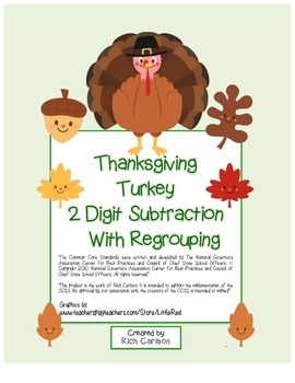 """""""Thanksgiving Turkey Math"""" 2 Digit Subtraction Regrouping! (color & black line)"""