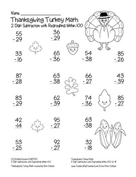 """""""Thanksgiving Turkey Math"""" 2 Digit Subtraction With Regrouping! (black line)"""