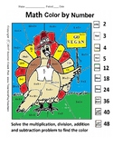 Thanksgiving Color by Number Multiplication and Division GR 3-5