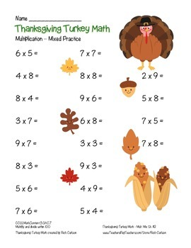 """Thanksgiving Turkey Math"" Mixed Multiplication - Common Core - FUN! (color )"
