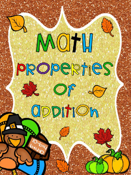 Thanksgiving Turkey Math Properties of Addition Task Cards-Free