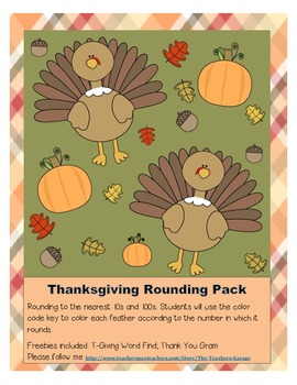 Thanksgiving Turkey Math Rounding Pack with Freebies