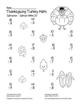 """Thanksgiving Turkey Math"" Subtract Within 20 - Common Core - FUN! (black line)"
